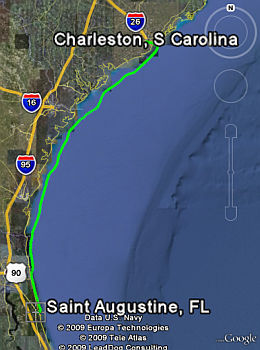 GPS Track from St. Augustine to Charleston